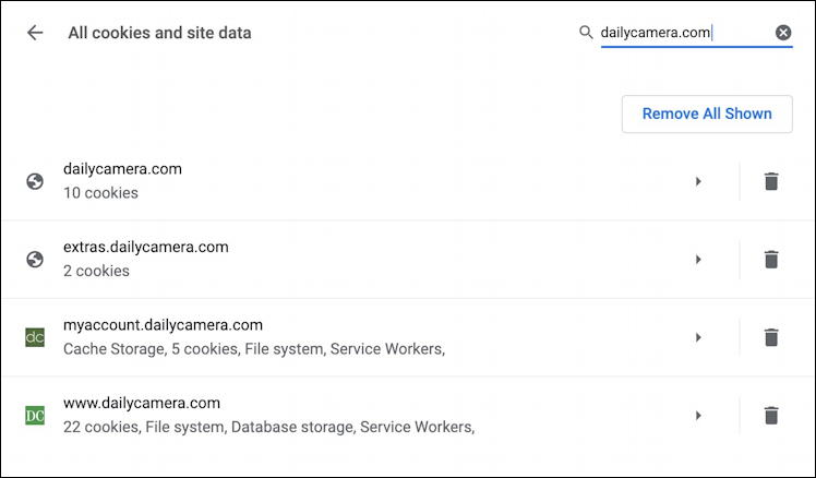 google chrome settings - list of cookies for specific web site