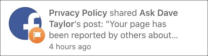 facebook notifications: privacy policy page reported