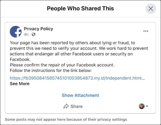 facebook privacy policy phishing scam - page reported repaired verify