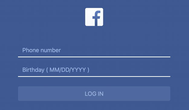 facebook scam phsihing fake bogus login screen 2 - phone number - birth date