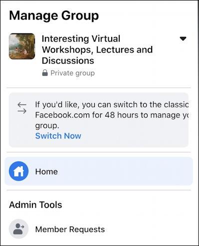 rename facebook group - main admin interface menu options