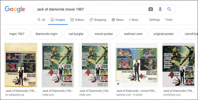 google image search - for movie poster jack of diamonds 1967