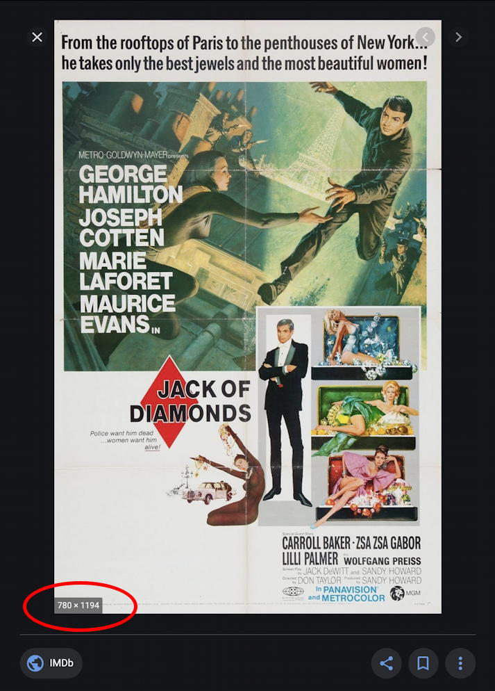 google image search - movie poster preview size - jack of diamonds 1967