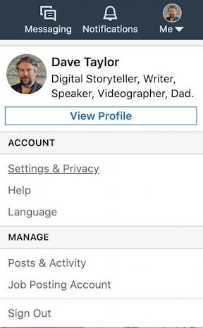 linkedin main settings profile menu