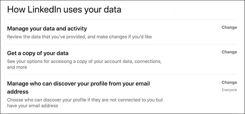 how linkedin uses your data - export data