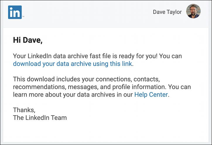 linkedin email: archive ready to download
