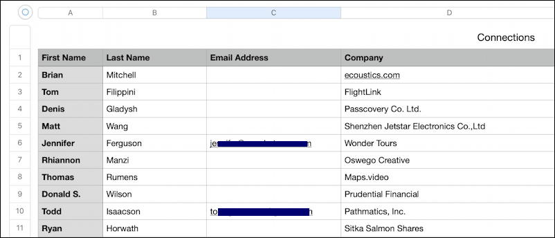 linkedin connections - export contacts spreadsheet w/ emails