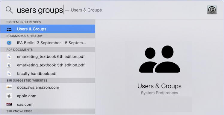 macos x spotlight - users groups search