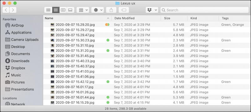 macos x - finder tags - finder list view with tags