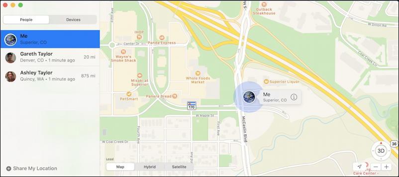 mac macos x - find my - my own location