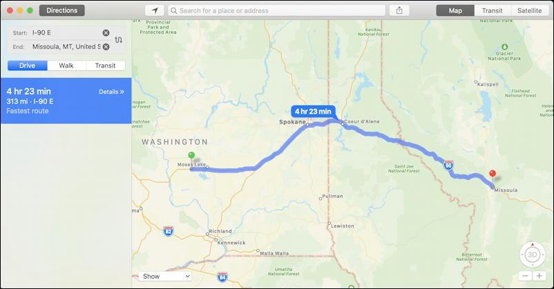 mac macos x - find my - apple maps - bozeman quincy montana washington