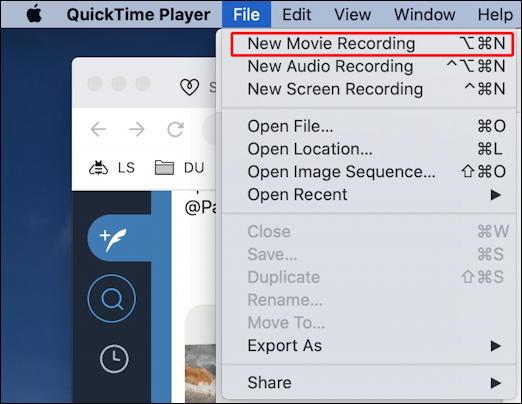 mac quicktime player - file menu - start recording
