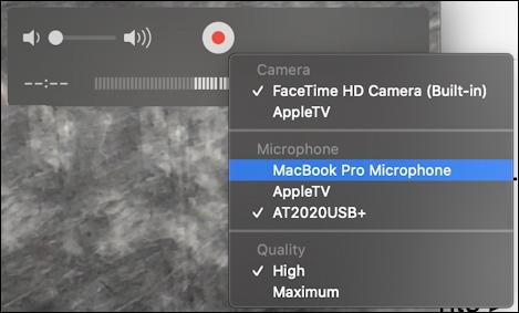 mac quicktime player - new screen recording - webcam capture - configure inputs