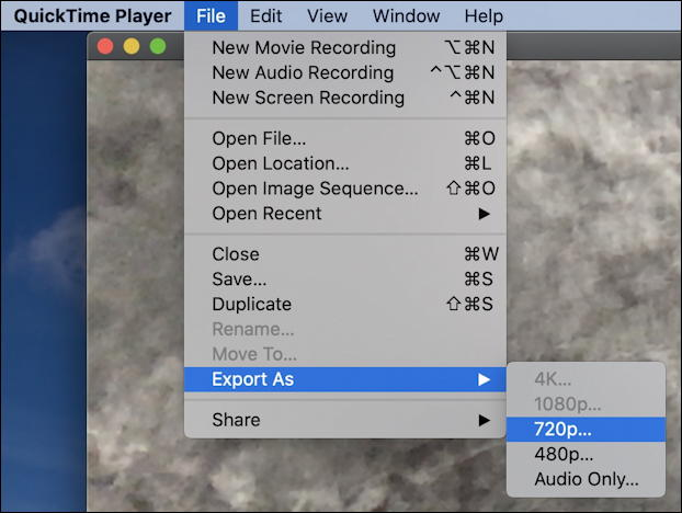 quicktime player - record webcam - export as 720p