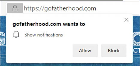 microsoft edge - notifications - get notifications from gofatherhood