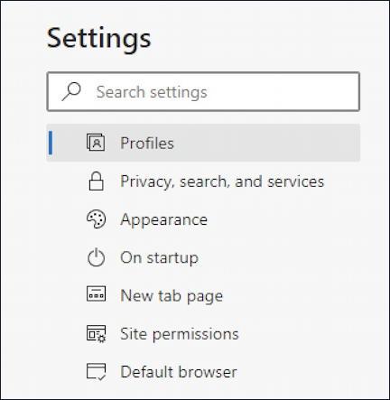 microsoft edge - notifications - settings main menu