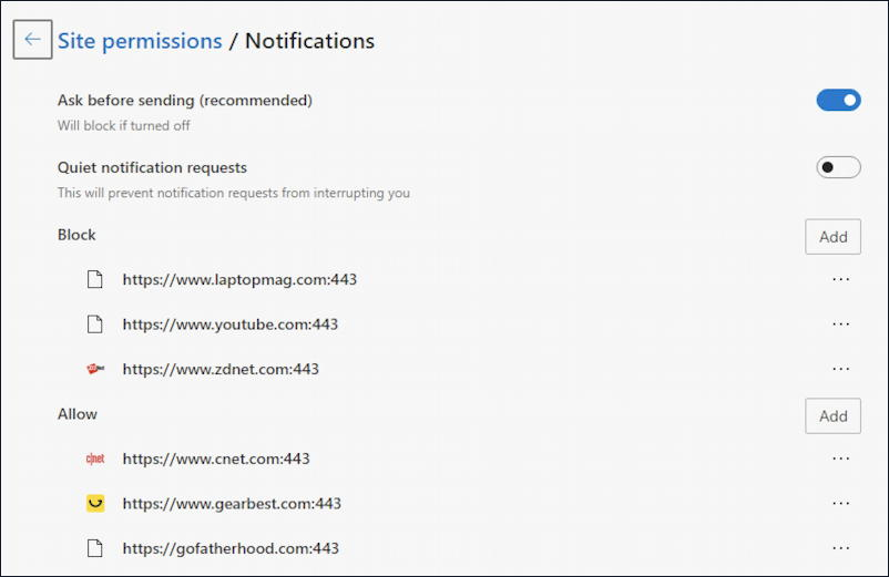 microsoft edge - notifications - allowed blocked list disable turn off notification web site