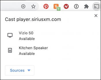 chromecast cast speaker options - siriusxm player