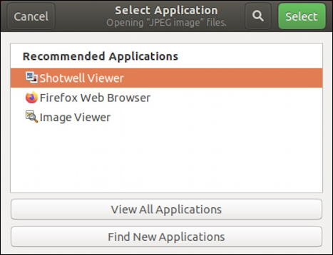 ubuntu linux - list of apps programs - open with - jpg jpeg photo image file
