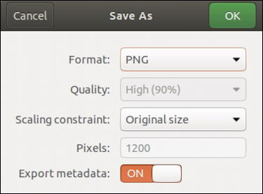 shotwell linux - save as - change format quality size