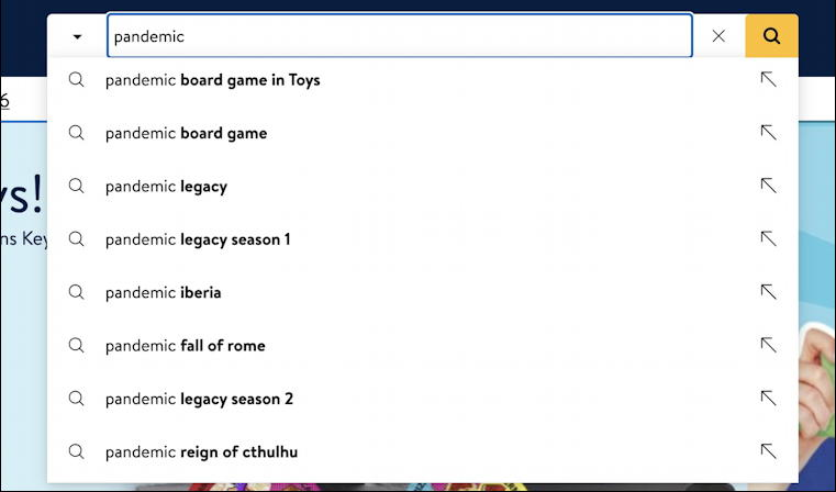 walmart search suggestions - pandemic
