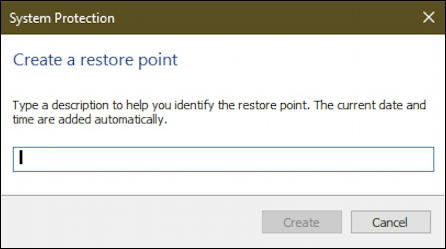 create restore point win10 - assign name restore point