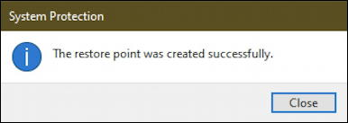 create restore point win10 - created successfully