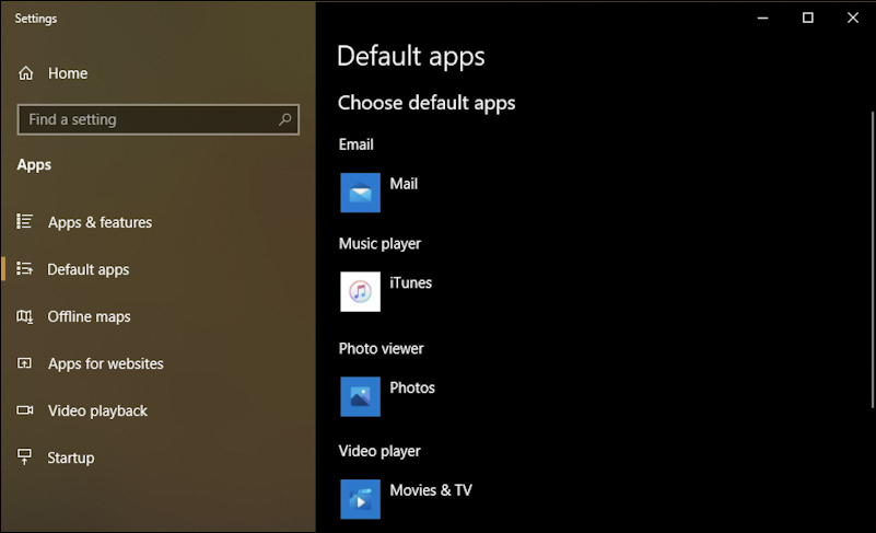 win10 default apps