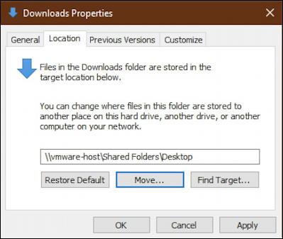 win10 file explorer - downloads properties - new location