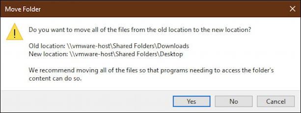 win10 confirm change location downloads folder