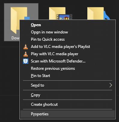 win10 file explorer - right-click downloads folder