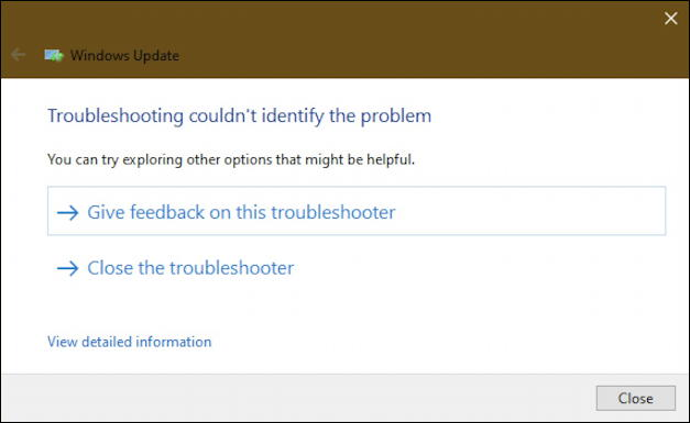 win10 windows update troubleshooter no problems