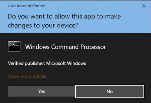 win10 sure you want to run as administrator