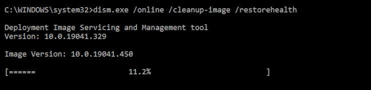 dism on windows command prompt - fix slow updates - progress bar