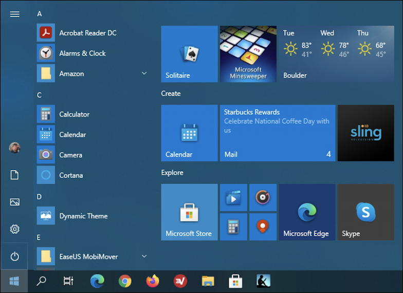 weather in windows 10 start menu