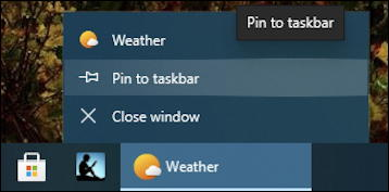 pin weather app microsoft taskbar win10