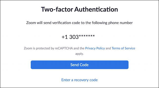 zoom 2fa - enter authentication code