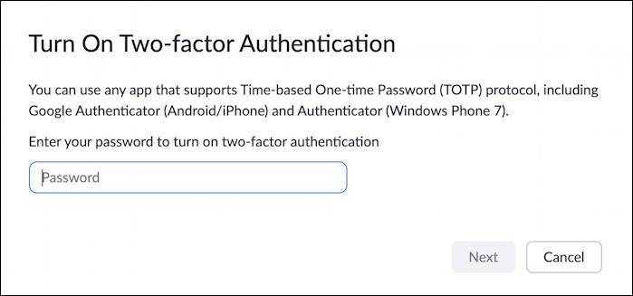 zoom 2fa - password to enable two factor authentication