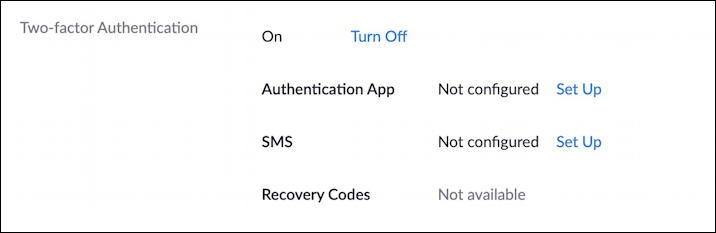 zoom 2fa - authenticator app text message sms