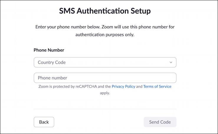 zoom 2fa - sms authentication setup