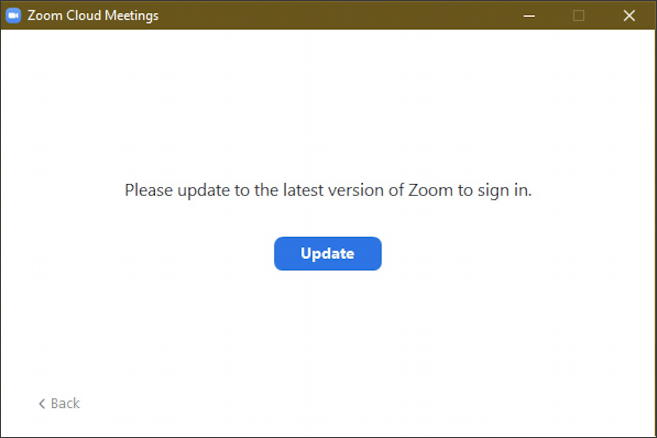 zoom - must update to log in