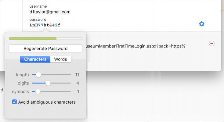 1password - generate more secure password - new password menu