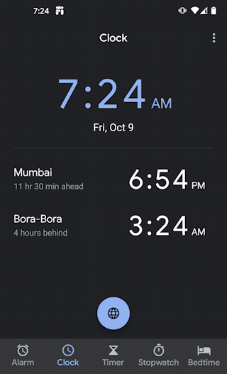 android 10 clock app - mumbai bora-bora added