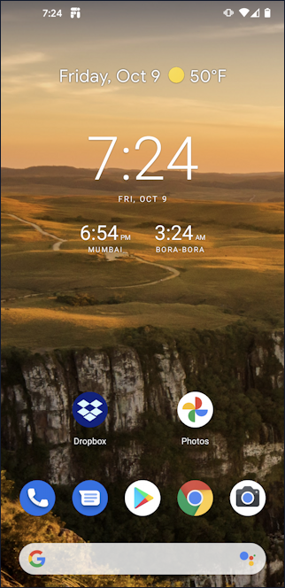 android 10 home screen with world time multiple clocks timezones