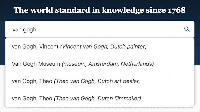 britannica.com - search suggestions for van gogh