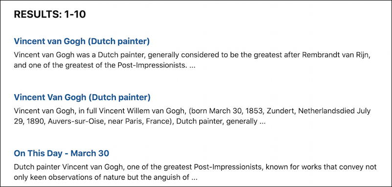 britannica.com - search results for 'van gogh'