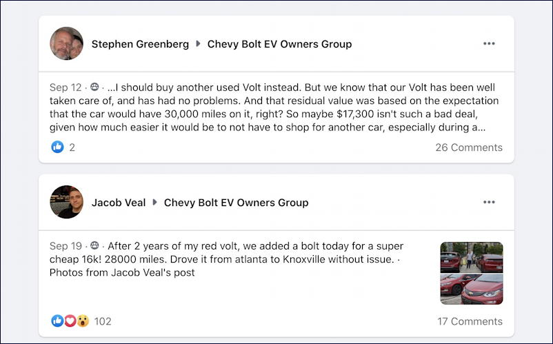 facebook chevy bolt ev group posts about the chey volt