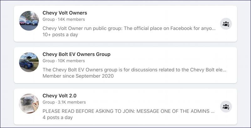 facebook search chevy volt groups
