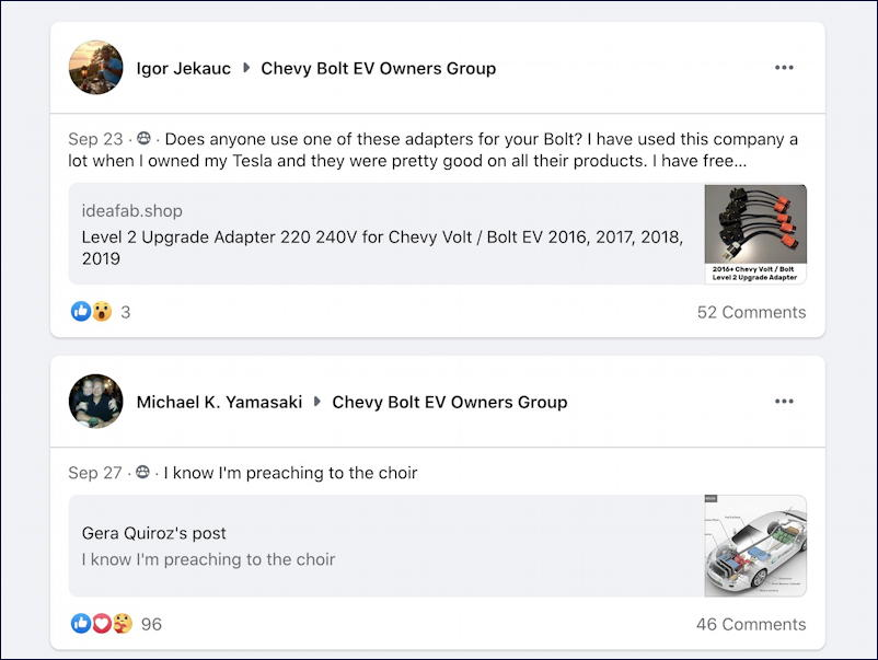facebook search posts about chevy volt from chevy bolt ev group