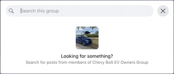 facebook chevy bolt ev group search within group search box